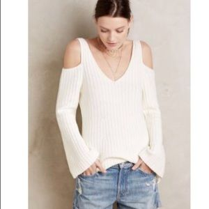 Anthro Knitted & Knotted Cold-Shoulder Sweater S